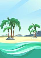 costa da ilha deserta com palmeiras e montanha na orientação vertical. vetor