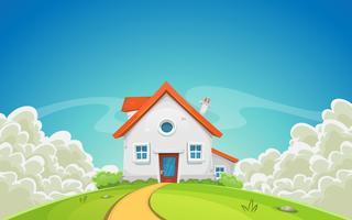 Casa dentro da paisagem da natureza com nuvens