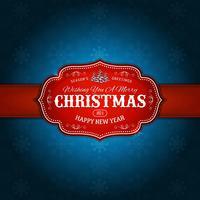 vintage-feliz-natal-feriados-flocos de neve-vermelho-e-azul vetor