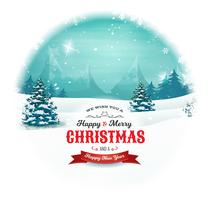 Natal e ano novo paisagem na bola de neve vetor