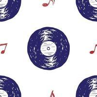 disco de vinil vintage padrão sem emenda desenho de etiqueta desenhada à mão, distintivo retro texturizado grunge, impressão de t-shirt de design tipográfico, ilustração vetorial vetor