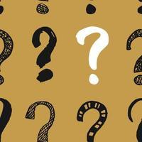 perguntas marca o padrão sem emenda. mão desenhada doodle esboçado sinais, grunge texturizado fundo retro. impressão de design de tipografia vintage, ilustração vetorial vetor