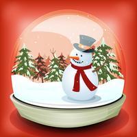 Boneco de neve no inverno bola de neve vetor
