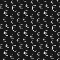 ícone de sinal do euro escova lettering padrão sem emenda, fundo de símbolos caligráficos de grunge, ilustração vetorial vetor