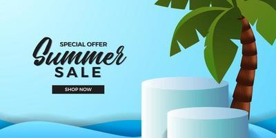 modelo de banner de oferta de venda de verão com display de produto pódio cilindro 3D com coqueiro e fundo azul do oceano vetor