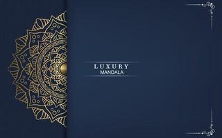 Fundo de mandala de luxo com vetor de arabescos dourados