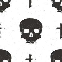 padrão sem emenda de crânio, ilustração em vetor esboço desenhado à mão