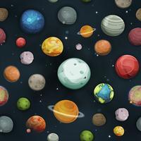 Planetas sem costura e fundo de asteroide