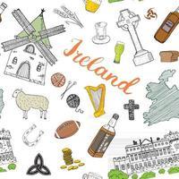 Irlanda esboço doodles padrão sem emenda. elementos irlandeses com bandeira e mapa da Irlanda, cruz celta, castelo, trevo, harpa celta, moinho e ovelha, garrafas de uísque e cerveja irlandesa, ilustração vetorial vetor