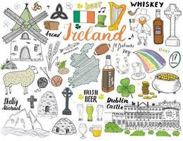 Irlanda esboço doodles. mão desenhada elementos irlandeses definidos com bandeira e mapa da Irlanda, cruz celta, castelo, trevo, harpa celta, moinho e ovelha, garrafas de uísque e cerveja irlandesa, ilustração vetorial vetor