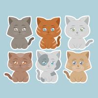 Etiquetas bonitos dos gatos do vetor