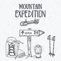 conjunto vintage de expedição de montanha. mão desenhados elementos de esboço para emblema distintivo retrô, aventura de caminhadas ao ar livre e montanhas explorando design de rótulo, esportes radicais, ilustração vetorial. vetor