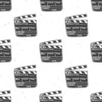 padrão sem emenda de claquete, esboço desenhado à mão vintage, indústria cinematográfica retro, ilustração vetorial vetor