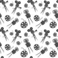 câmera, rolo de filme e claquete, padrão sem emenda vintage, esboço desenhado à mão, indústria cinematográfica retrô, ilustração vetorial vetor