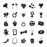 ícones de doodle de amor e dia dos namorados, conjunto de sinais de mão desenhada, ilustração vetorial vetor