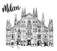 catedral duomo em milão, itália. mão esboço desenhado do famoso edifício da igreja italiana com letras de Milão, ilustração vetorial, isolada no fundo branco. vetor
