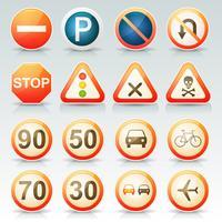 Conjunto de ícones brilhantes de sinais de trânsito