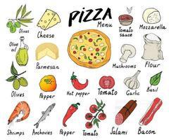 Pizza menu mão desenhada conjunto de esboço. modelo de design de preparação de pizza com queijo, azeitonas, salame, cogumelos, tomate, farinha e outros ingredientes. ilustração vetorial isolada no fundo branco vetor
