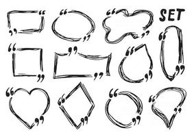 Caixas de cotação e quadros de cotação desenhados à mão, desenho ilustração em vetor doodle isolada no fundo branco