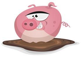 Toon porco lavagem em lagoa banho vetor