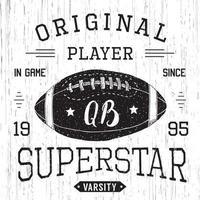 design de t-shirt, gráficos de tipografia superstar de quarterback de futebol americano, ilustração vetorial vetor