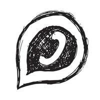 fone de ouvido em ícone de bolha de fala desenhada à mão vetor