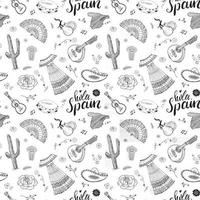 Espanha sem costura padrão doodle elementos, esboço desenhado à mão, camarões comida espanhola, azeitonas, uva, bandeira e letras. fundo da ilustração do vetor. vetor