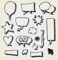 Doodle discurso bolhas e conjunto de elementos vetor