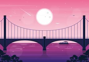 Vetorial, paisagem, ponte, ilustração vetor