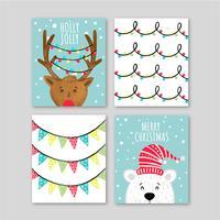 Cartões de Natal bonitos com personagens vetor