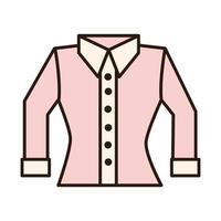 Linha de roupas femininas de blusa rosa e ícone de preenchimento vetor