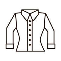 blusa feminina linha de roupas ícone fundo branco vetor