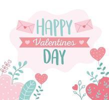 feliz dia dos namorados, envelope mensagem corações decoração floral vetor