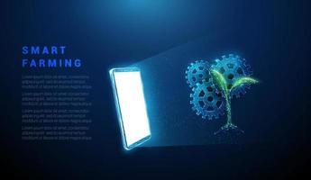 telefone celular azul abstrato, tela branca, roda dentada e planta vetor