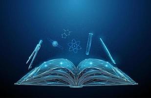 livro escolar aberto abstrato com ícones de disciplinas escolares vetor