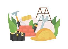 ilustração em vetor conceito plano de melhoria de construção e casa