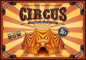 Cartaz de circo vintage amarelo com grande parte superior