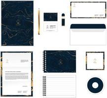 O modelo de identidade corporativa para o seu negócio inclui capa de CD, cartão de visita, pasta, envelope e designs de cabeçalho de papel no.6 vetor