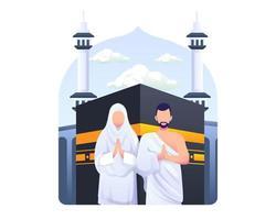 casal muçulmano está fazendo ilustração vetorial de peregrinação hajj islâmica vetor