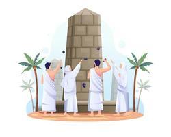 muçulmanos estão jogando pedras no pilar do diabo na ilustração do vetor de peregrinação hajj islâmica