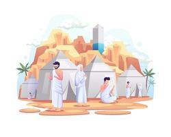 muçulmanos descansando em tendas na ilustração vetorial de peregrinação hajj islâmica vetor