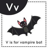 aprender o alfabeto inglês para crianças. letra v. morcego vampiro bonito dos desenhos animados. vetor