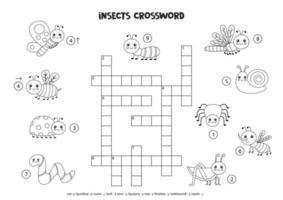 Palavras cruzadas de espaço preto e branco para crianças com insetos sorridentes fofos. vetor