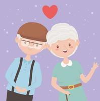 idosos, avós felizes, casal maduro adora personagens de desenhos animados vetor