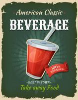 Cartaz retro da bebida do fast food