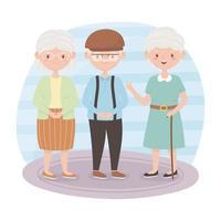 idosos, avós e vovô juntos personagens de desenhos animados vetor