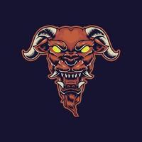 ilustração da ilustração assustadora da cabeça do demônio vetor