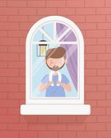 fique em casa em quarentena, homem com toalha olhando pela janela vetor