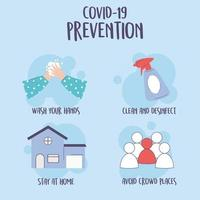 covid 19 infográfico de pandemia, dicas de prevenção, ficar em casa, lavar as mãos, limpar e desinfetar vetor