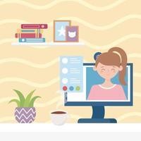 reunião online, mulher na tela trabalho virtual de casa vetor